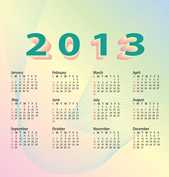 2013 calendar pastel color vector image vector image