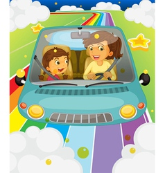 A mother driving with her daughter vector image