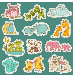 Baby and Mommy Animal Set on paper tags vector image vector image