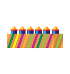 Box with bright rockets collection of fireworks vector