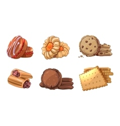 Cookies icons set in cartoon style vector image vector image