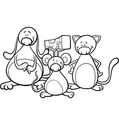 cute pets cartoon coloring page vector image vector image