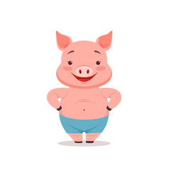 cute smiling pig funny cartoon animal vector image vector image