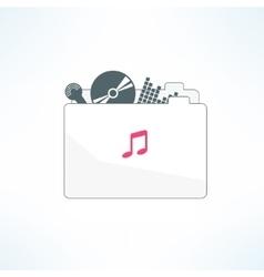 music folder icon in modern flat design vector image vector image