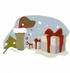 Santa in chimney vector image