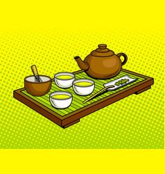 Set for tea ceremony pop art vector