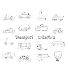Transport doodle set vector image vector image