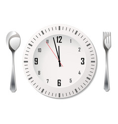 cutlery with clock vector image