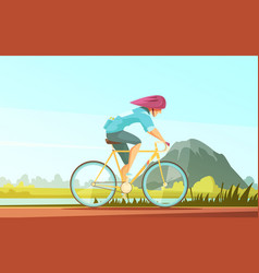 cycle tourist sportsman composition vector image vector image