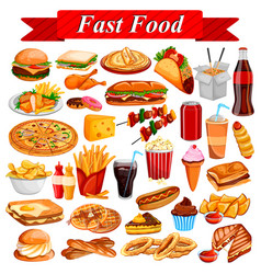 delicious tasty fast food and drink item vector image