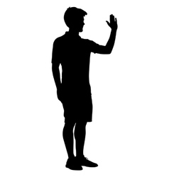 Silhouette man raised his left hand up vector image vector image