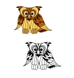 Wild forest yellow owl with brown plumage vector image