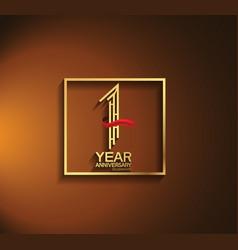 1 year anniversary logotype golden color vector