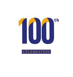 100 th anniversary celebration orange blue vector
