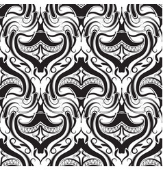 abstract black and white damask seamless patte vector image