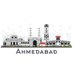 Ahmedabad india city skyline with color buildings vector
