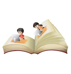 An open book with a girl and a boy with computers vector image