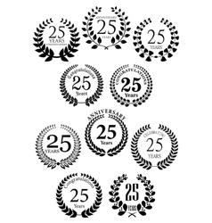 Anniversary heraldic laurel wreaths icons vector