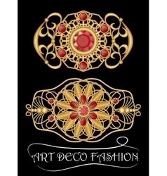 Art deco brooch with red gems ruby or garnet vector