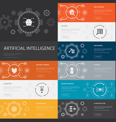 Artificial intelligence infographic 10 line icons vector