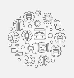 Artificial intelligence round concept vector