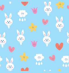 baby bunnies seamless pattern vector image