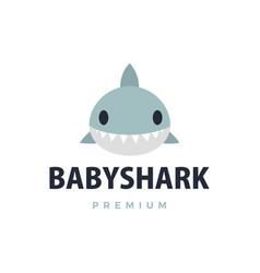 Baby shark flat logo icon vector