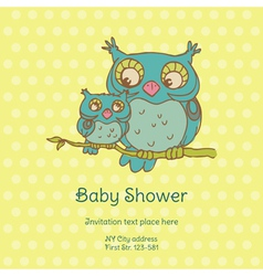 Baby Shower Card with Owls vector image