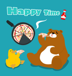 bear amp duck eat pizza cartoon vector image