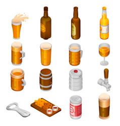 beer drink icon set isometric style vector image
