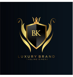 Bk letter initial with royal templateelegant vector