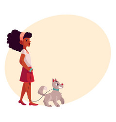 Black african american girl walking with dog on vector