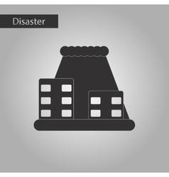 Black and white style icon tsunami city vector