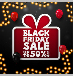 black friday sale up to 50 off black square vector image