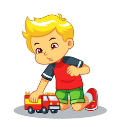 Boy playing with his truck toy vector