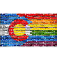 Brick wall colorado and gay flags vector