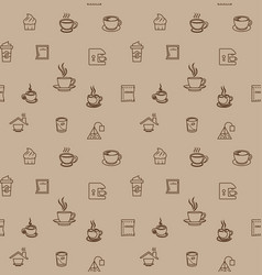 Brown coffee icon set pattern seamless design for vector