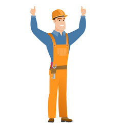 Builder standing with raised arms up vector