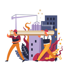 builders working together workmen carrying big vector image