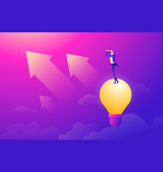 Business man flying in sky on hot air balloon vector