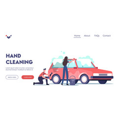 Car wash service landing page template cleaning vector
