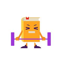 Cartoon book character lifting barbell vector