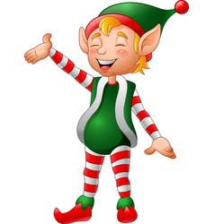 Cartoon christmas elf presenting vector