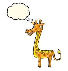 Cartoon giraffe with thought bubble vector