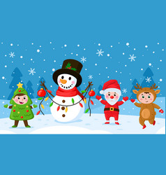 cartoon kids and snowman children in christmas vector image