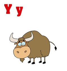 Cartoon yak with letter vector image