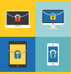 Chain and lock on electronic device vector