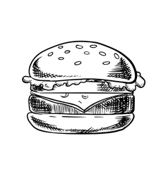 Cheeseburger with beef vegetables and cheese vector image