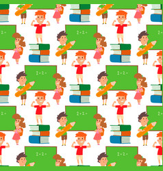 children studying school kids going study together vector image