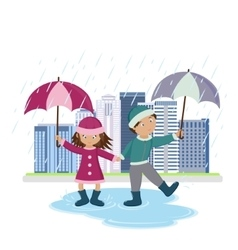 children with umbrellas in rain vector image